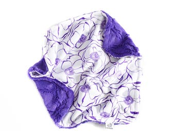 Purple Floral Baby Lovey. Double Minky Baby Lovey. Floral Blanket. Floral Lovey. Baby Blanket. The Cozy Lovey.