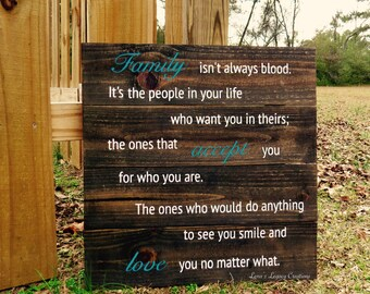 Family Isn't Always Blood Sign, Family Sign, Family Sign Wood, Family Sayings, Adoption Gifts, Adoption Sign, Family Sayings