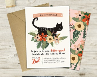 Kitten Around Cat Birthday Invitation