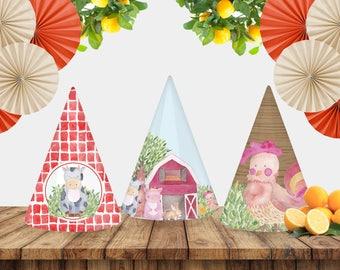 Printable Farm Theme Party Hats