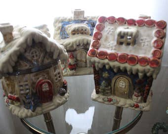 3 Ceramic Christmas Houses Decoration