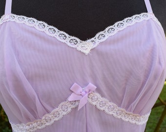 Ladies Slip Vintage Lilac Nylon with Lace Ribbon Straps Short Length Vintage St Michaels Made in Britain Lingerie underskirt Slip