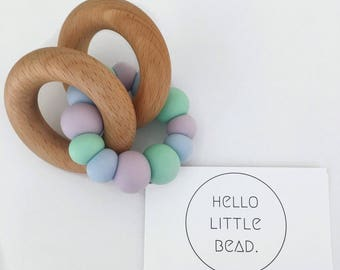 Teething Toy LAVENDER FIELDS  - Silicone and Beech Teething Toy Chunky Silicone Teething Ring - Baby Teether - Wooden Teether