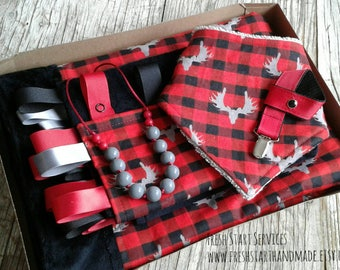 Red Plaid Baby Gift Set - Woodland Baby Set - Buffalo Plaid Baby Gift - Woodland Baby Gift - Baby Shower Gift- Red Plaid Moose Baby Gift Set