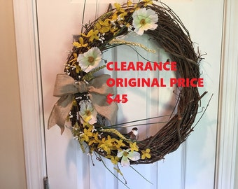 CLEARANCE SALE - Year Around Wreath, Front Door Wreath, Wreath with bird, Grapevine Wreath, Burlap Wreath, Wreath for Front Door