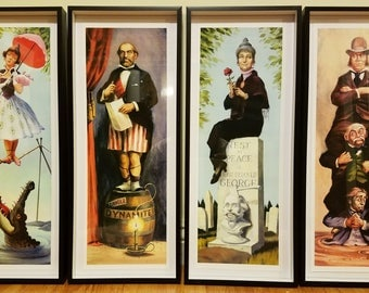 Disneyland Haunted Mansion Set of 4 Stretch Paintings Fine Art Prints