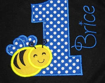 Personalized Bumble Bee Birthday Shirt. Personalized Birthday Shirts for Boys. Honey Bee Shirt. Personalized First Birthday Shirt.