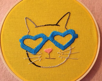 Crazy Cool Cat Finished Embroidery