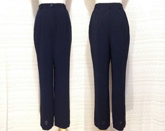 "high waisted trousers XS / S ""Leona"" high waisted pants, navy blue pants, straight leg trousers, vintage pants, us size 4 6, 90s clothing"