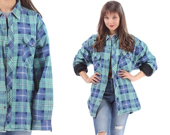 Tartan Plaid LUMBERJACK Shirt 70s Insulated FLANNEL Jacket Blue  White Vintage Grunge Men Women Button Up Large to XL