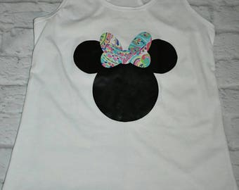 Minnie mouse tropical bow tanktop, Minnie mouse head, disney tanktop, Minnie inspired tanktop
