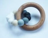 Silicone & Wood PENTA Baby Teether - Mordedor - Chupetero - Schnullerkette - hochet - Beißring