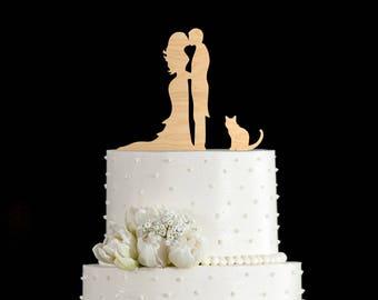 Couple silhouette wedding cake topper,Couple Kissing topper cat,cat,Wedding Cake topper with cat,Couple Kissing cake topper with cat,5832017