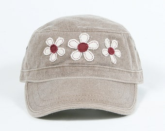 Ladies light brown cadet hat with handmade flowers