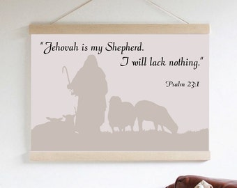"""Hanging Canvas Wall Decor Print - """"Jehovah Is My Shepherd"""""""