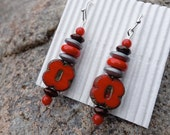 Support Ohio State Buckeyes Earrings in Scarlet and Gray, Scarlet and Gray Woman's Gift, Gift for Mom, Ohio State Football Jewelry
