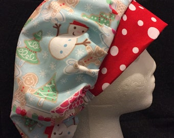 Women's Surgical Scrub Hat Bouffant CHRISTMAS Holiday fits ponytail