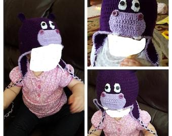 Handmade Crochet Hippo Hat (6-12 months)
