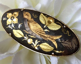 Vintage Damascene Oval Bird and Flower Brooch, Vintage Damascene Brooch, Damascene Jewelry, Bird Brooch, Bird Pin