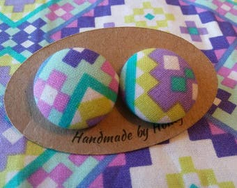 Periwinkle Rock/Fabric Button Covered Earrings/Nickel Free