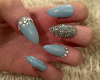 Pale Blue Rhinestone Stiletto Nails