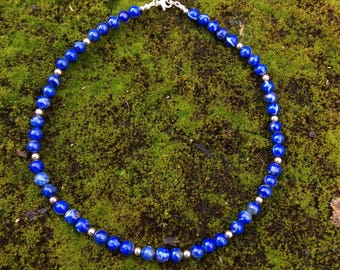 Lapis Lazuli natural, Untreated, Sterling Silver Necklace