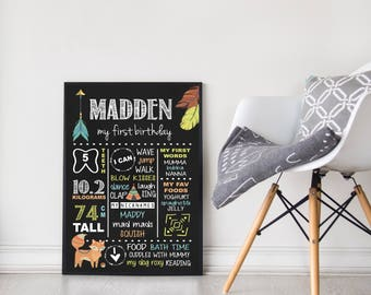 First Birthday Chalkboard Sign | Customised |  1st Birthday Milestone Print | Personalised | Party Sign | Boy | Tribal