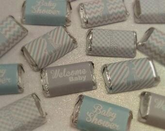 Baby Shower Giraffes Miniature Candy Bar Wrappers - Light Blue & Gray