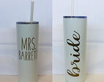 Wedding tumbler, Bride tumbler, Mrs tumbler, Stainless steel