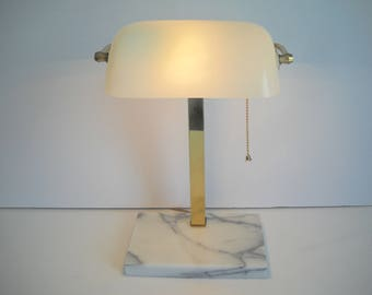 White Banker's Lamp with a Marble Base