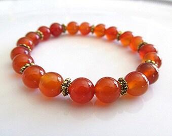 Carnelian bracelet gemstone bracelet gemstone bead yoga bracelet sacral chakra bracelet boho new age meditation healing gift.