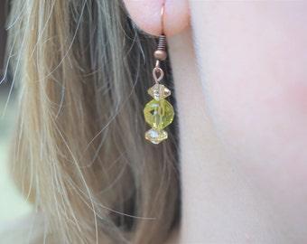 Green and Tan Earrings