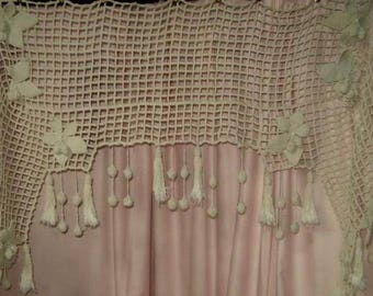 Great old piece, crochet art, fireplace, curtain