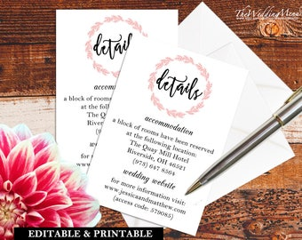Wedding DETAILS Card Directions Card diy Wedding INFO Card Editable Details Card Template Wedding Directions Printable Hotel Details PDF 008