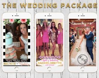 Custom Snapchat Geofilter Wedding Package || bridal shower, bachelorette party, wedding - 3 fully custom filters