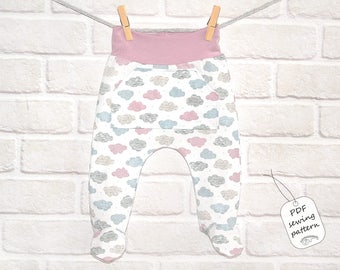 Baby footed pants pattern PDF, baby sewing patterns