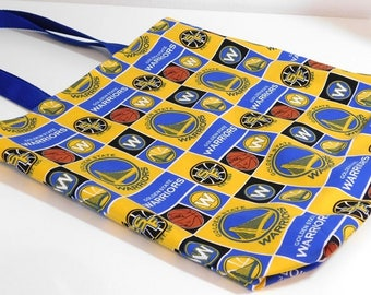 Golden State Warriors Reversible Reusable Grocery Project Craft Shopping Bag Tote