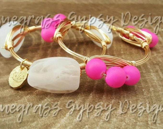 Hot Pink Wire Bracelet, Bracelet, Bangle, Bourbon & Boweties Inspired