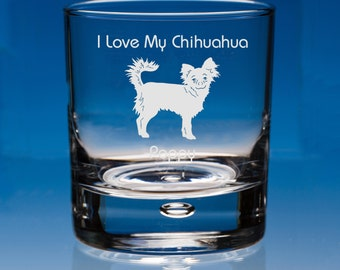 Long Haired Chihuahua Dog Lover Gift Engraved Personalised Whisky Glass - Your Message - Birthday Gift - Valentine Gift - Dog Lover Gift