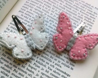 Pink butterfly hair clip, butterfly hair accessory, White butterfly Hair clip, Wool felt butterfly Hair clips for girls - set of 2