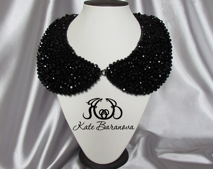 Black Peter Pan Collar Detachable necklace Crystal Embroidered collar chanel style fashion collar Bib Black Necklace Gift for her