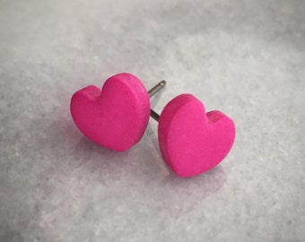 Polymer Clay Heart Earrings- Pink