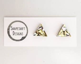 Chunky Silver and Gold Glitter Acrylic Stud Earrings - 13mm Triangle