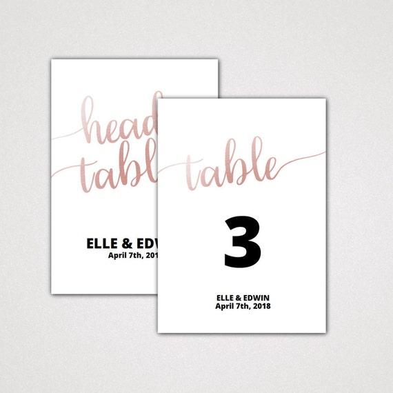 table numbers for wedding reception templates - rose gold 5x7 4x6 table numbers for wedding a printable
