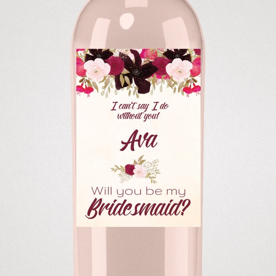will you be my bridesmaid wine label template - boho bridesmaid proposal wine label template a bohemian
