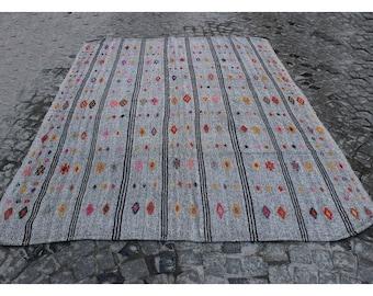 Kilim rug,257x200cm,8u00274x6u00276 ft,Turkish kilim,Turkish Kilim rug,Turkish rug, Kilim,Rugs,Goat hair rug,Gray rug,Vintage Kilim,Modern rugs,954.
