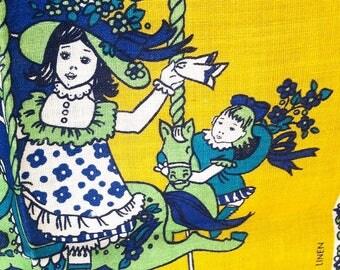 1970 Vintage Tea Towel, Pamela Kay carousel, calendar, Irish Linen, as new.
