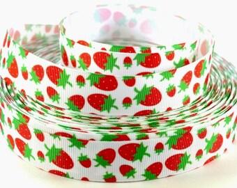 "7/8"" Delicious Strawberry Print Grosgrain Ribbon"