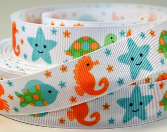 "7/8"" Crab,Turtle, Starfish, Fish, Grosgrain Ribbon"