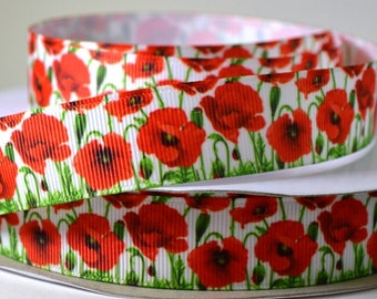 "7/8"" Floral Ribbon - Red Poppies - Flowers - Grosgrain Ribbon"